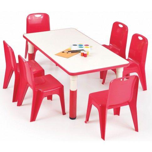 Prostokątny stolik dziecięcy Hipper 2X - czerwony w sklepie Edinos.pl