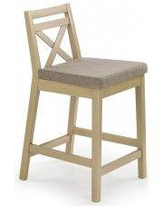 Drewniane krzesło barowe Lidan - dąb sonoma w sklepie Edinos.pl