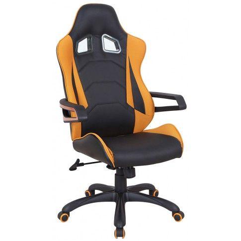 Zdjęcie produktu Fotel obrotowy Presto - czarny + pomarańczowy.