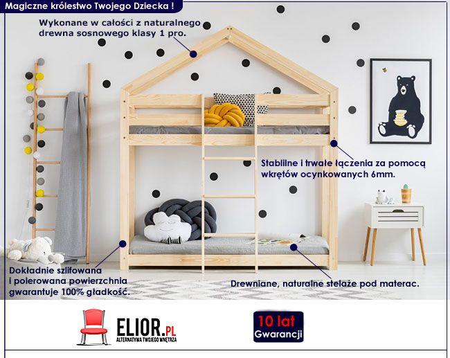 Piętrowe łóżko domek dla dziecka Miles 6X