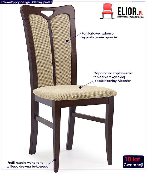 Drewniane krzesło do salonu ciemny orzech Jonker