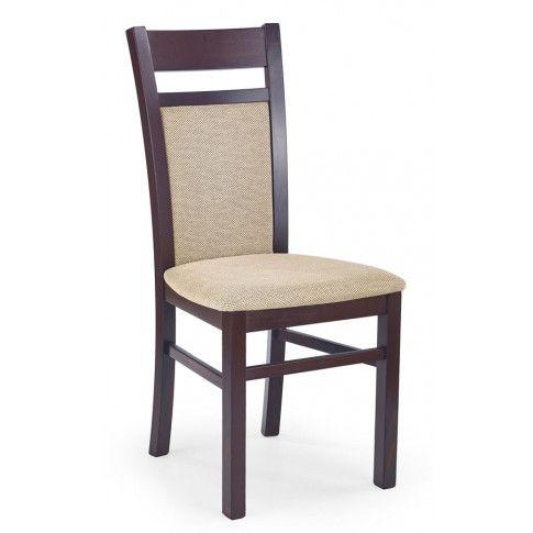 Zdjęcie produktu Drewniane krzesło w stylu skandynawskim Lettar - Ciemny orzech.