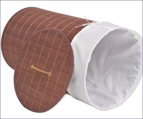 Brązowy okrągły kosz na bieliznę z drewna bambusowego Lavandi 2X