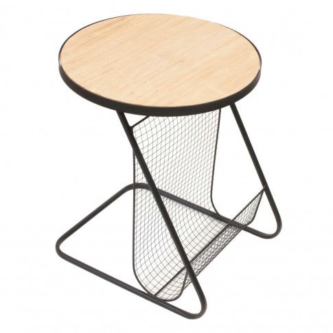 Zdjęcie produktu Loftowy stolik z gazetnikiem Mikel - czarny.