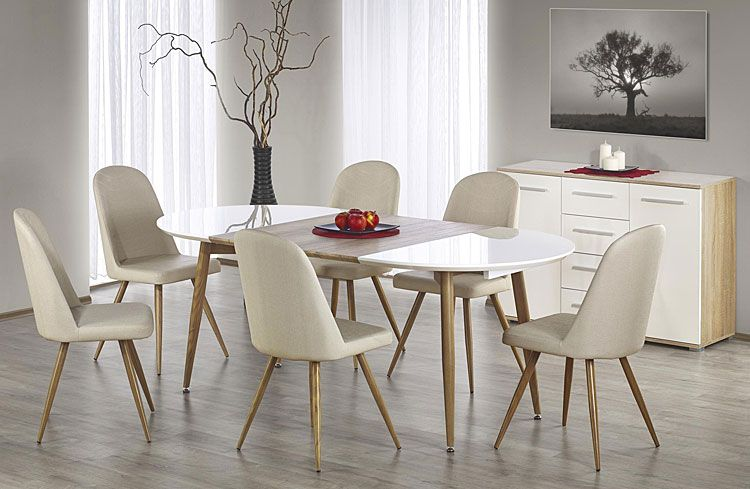 Tapicerowane krzesło kuchenne kremowe Dalal