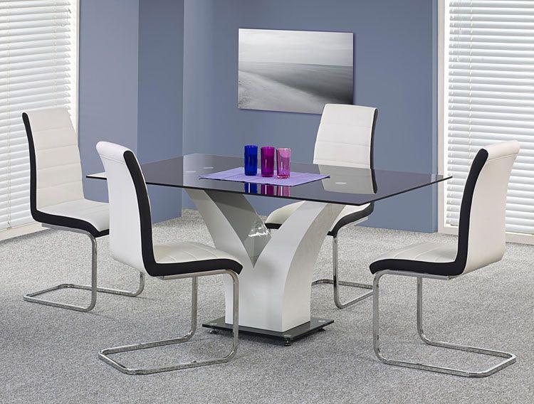 Białe krzesło tapicerowane do stołu Damer