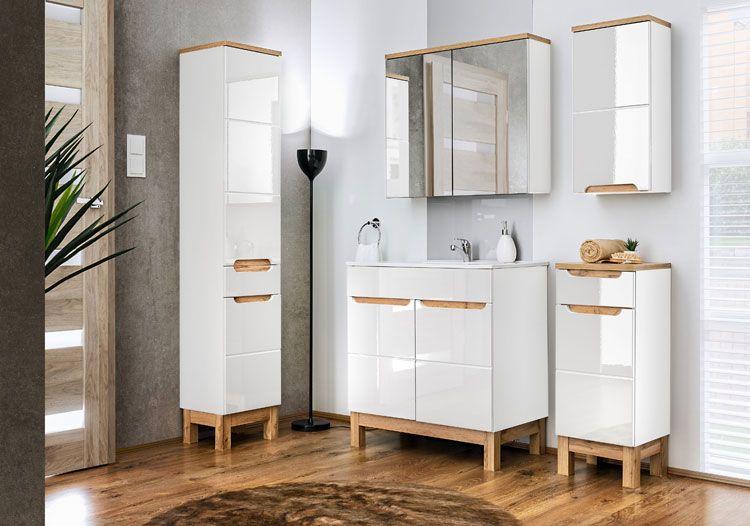 Biały nowoczesny zestaw mebli łazienkowych Marsylia