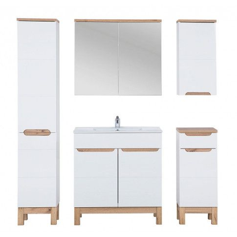 Zdjęcie produktu Zestaw mebli łazienkowych z koszem Marsylia 3Q 80 cm - Biały połysk.