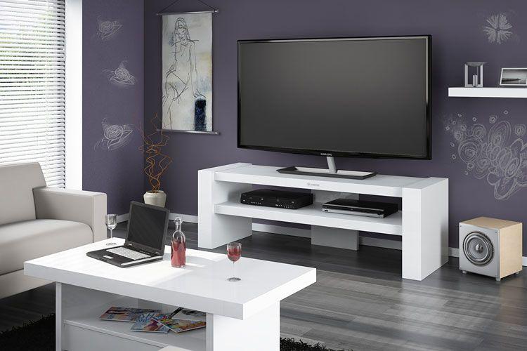 Lakierowany stolik pod telewizor Nepo 3X w modnym białym kolorze