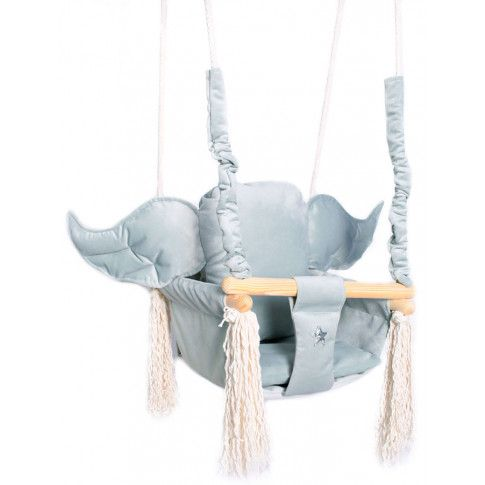 Zdjęcie produktu Szara huśtawka dziecięca ze skrzydłami - Tiana.