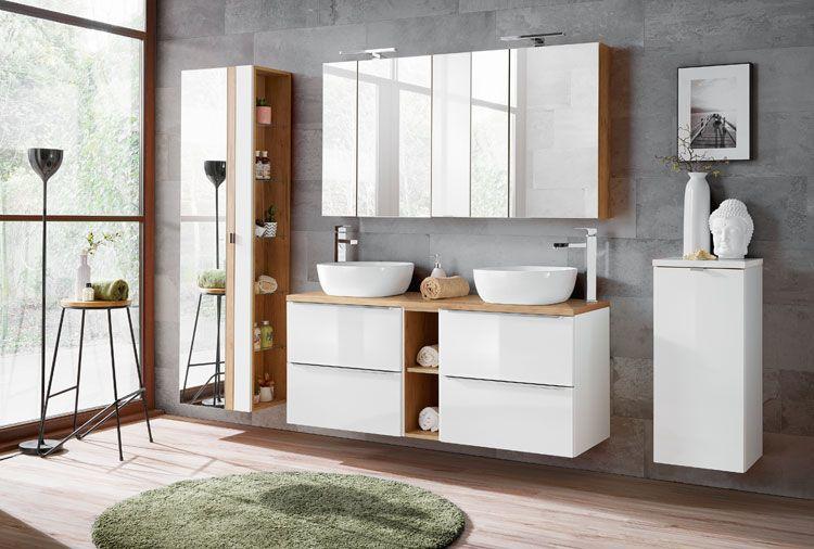 Komplet nowoczesnych wiszących mebli łazienkowych Malta Biały połysk