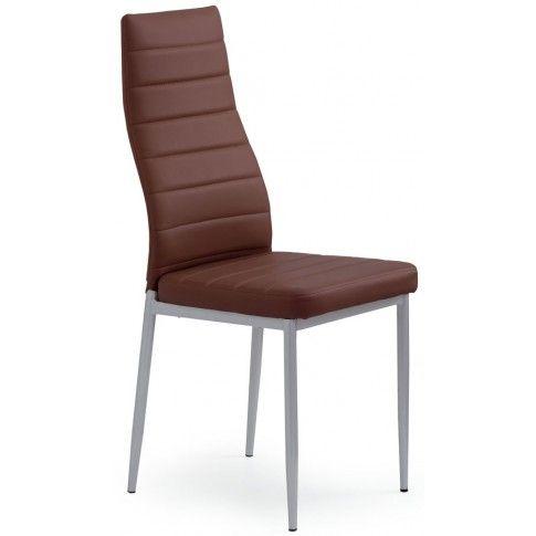 Zdjęcie produktu Tapicerowane krzesło Dikon - ciemny brąz.