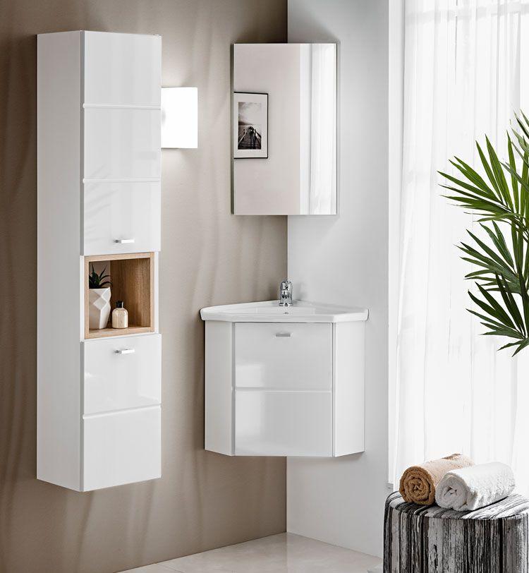 Komplet nowoczesnych wiszących szafek łazienkowych Lagos Biały połysk
