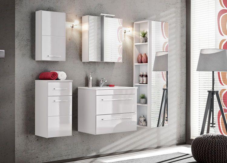 Zestaw wiszących szafek łazienkowych Malaga Biały