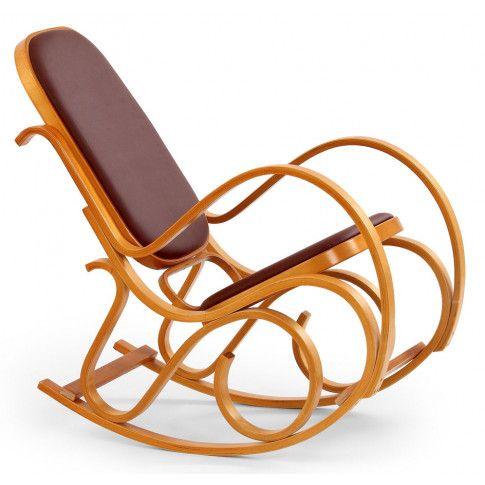 Drewniany fotel bujany tapicerowany eco skórą Dixel olcha