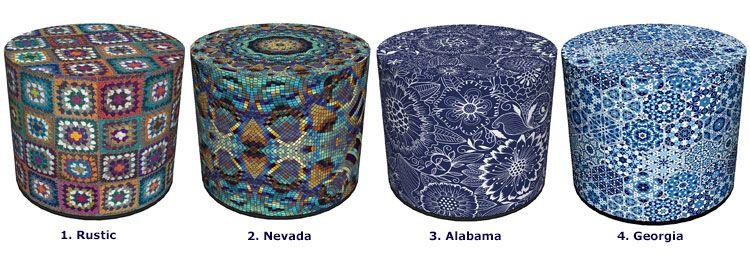 Okrągła zdobiona pufa z motywem mozaiki Adelos 9X