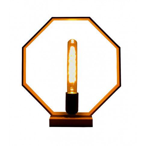Drewniana lampka stołowa EX379-Derpal z żarówką typu Edison
