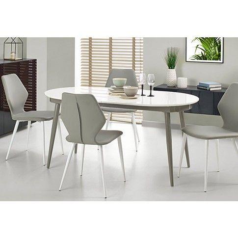 Zdjęcie produktu Rozkładany stół Darnis - biały + popiel.