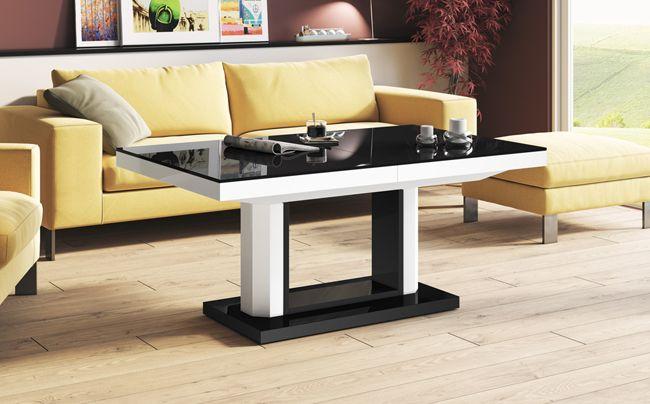 Czarno biały ławostół Havier 2X - do salonu
