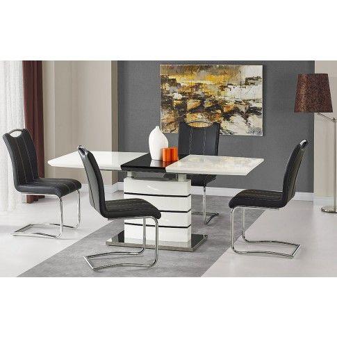 Zdjęcie produktu Stół rozkładany Nordes - biało czarny.