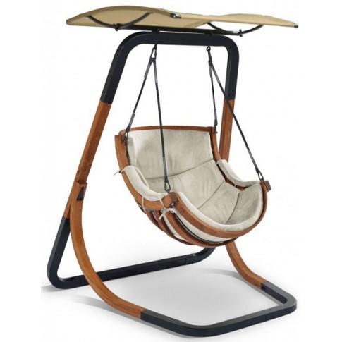 Beżowy fotel wiszący z daszkiem Pasos 3X
