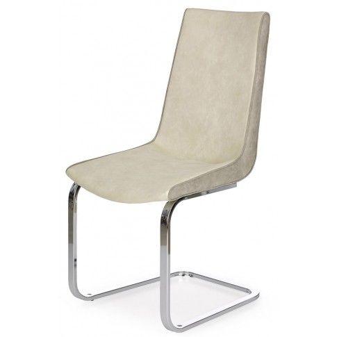 Zdjęcie produktu Tapicerowane krzesło Razor - kremowe + popiel.