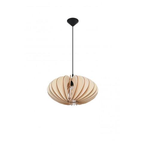 Skandynawska lampa wisząca EX567-Sophix z drewnianym abażurem