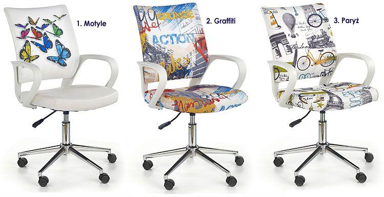 Białe krzesło obrotowe dla ucznia Ator