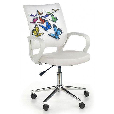Zdjęcie produktu Fotel młodzieżowy Ator - biały w motyle.