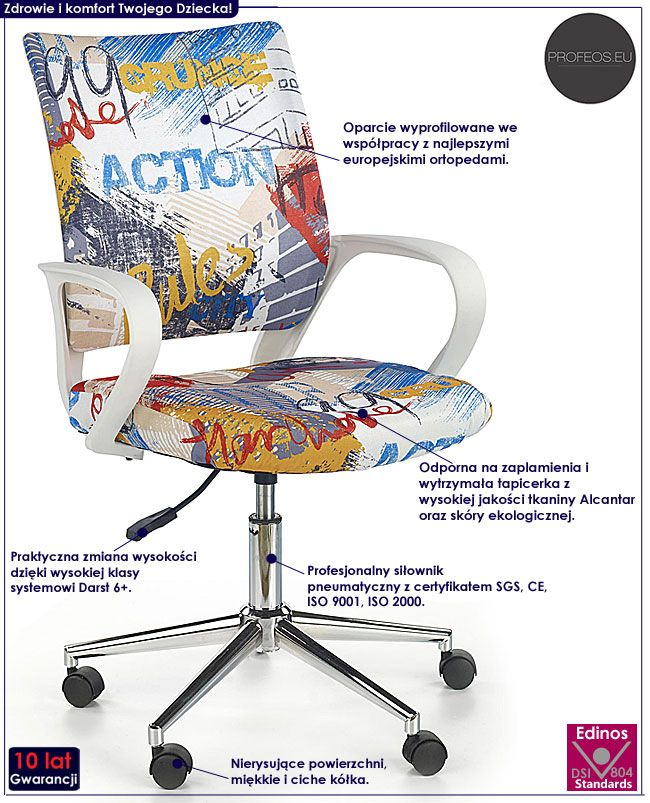 Fotel obrotowy dla chłopca z wzorem graffiti Ator