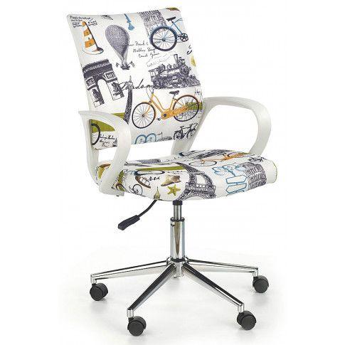 Zdjęcie produktu Młodzieżowy fotel obrotowy Ator - biały z Paryżem.