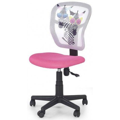 Zdjęcie produktu Dziewczęcy fotel obrotowy Cziko - różowy z zebrami.