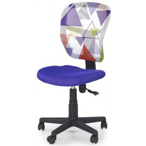 Zdjęcie produktu Wentylowany fotel młodzieżowy Cziko - fioletowy w trójkąty.