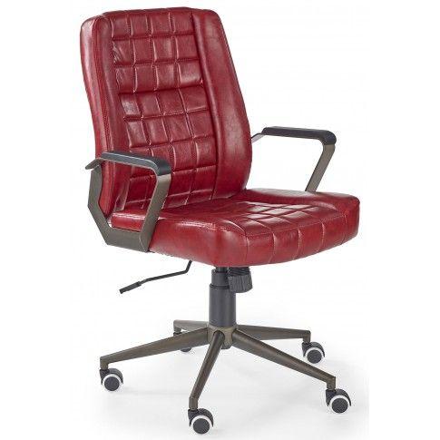 Zdjęcie produktu Pikowany fotel obrotowy Evans - bordowy.