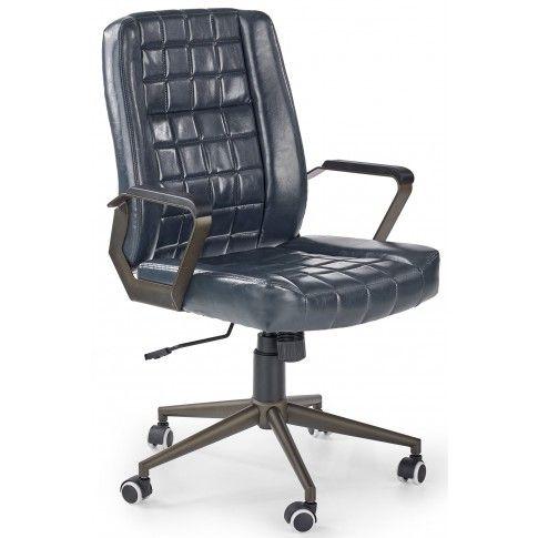 Zdjęcie produktu Pikowany fotel obrotowy Evans - granatowy.
