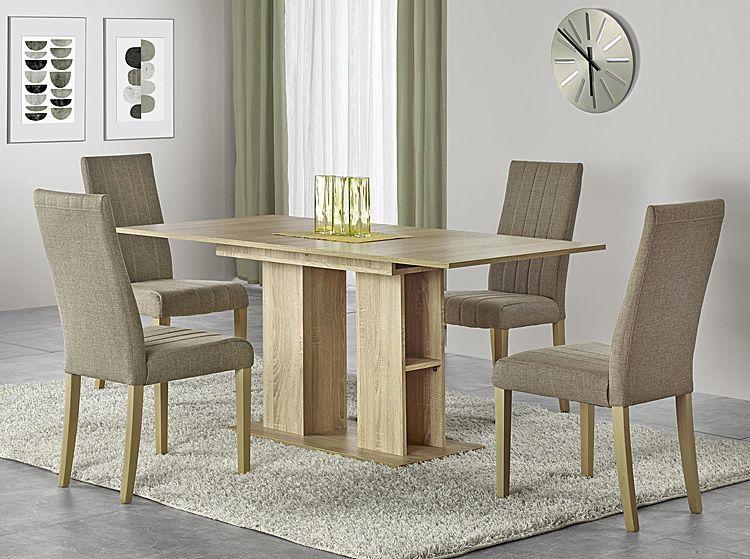 Beżowe krzesło drewniane do salonu Iston