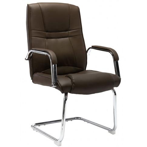 Brazowe tapicerowane krzeslo konferencyjne Glomer 2X