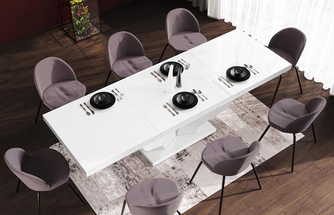 Biały stół rozkładany Tutto - wysoki połysk