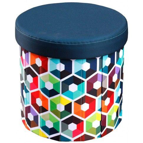 Zdjęcie produktu Okrągła pufa Mimi - granatowa we wzory.