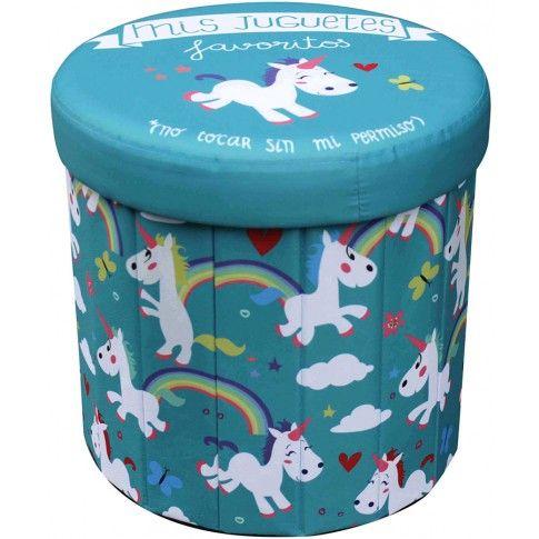 Zdjęcie produktu Okrągła pufa Mimi - niebieska w jednorożce.