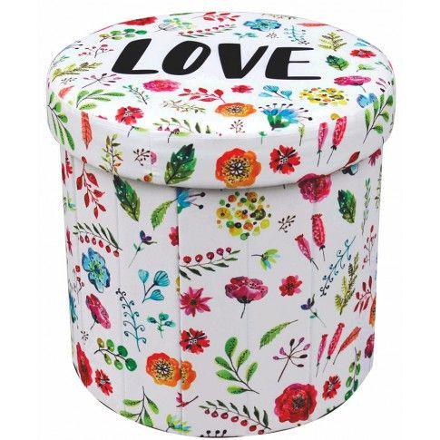 Zdjęcie produktu Otwierana pufa Mimi - biała w kwiaty.