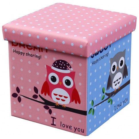 Zdjęcie produktu Kwadratowa pufa Mimi - różowa w sówki.
