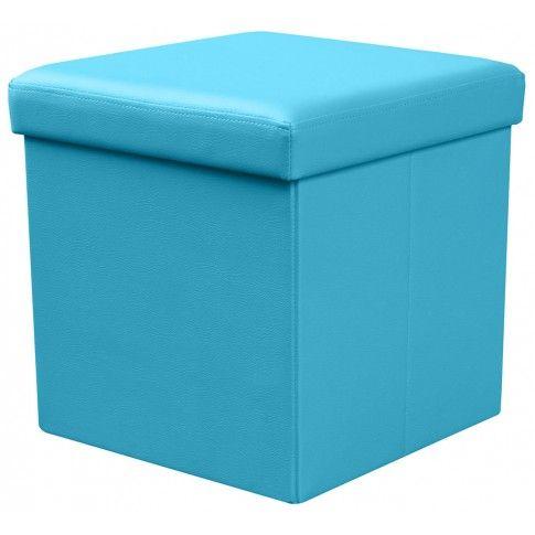 Zdjęcie produktu Tapicerowana pufa Lori - niebieska.
