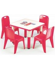 Kwadratowy stolik dziecięcy Hipper - czerwony
