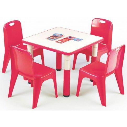 Kwadratowy stolik dziecięcy Hipper - czerwony w sklepie Edinos.pl