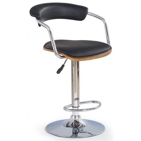 Zdjęcie produktu Hoker barowy z oparciem Ledon - czarny.