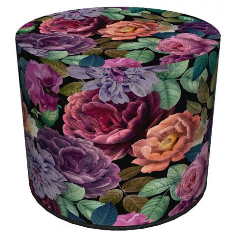 Okrągła zielono-różowa tapicerowana pufa w kwiaty Matilda