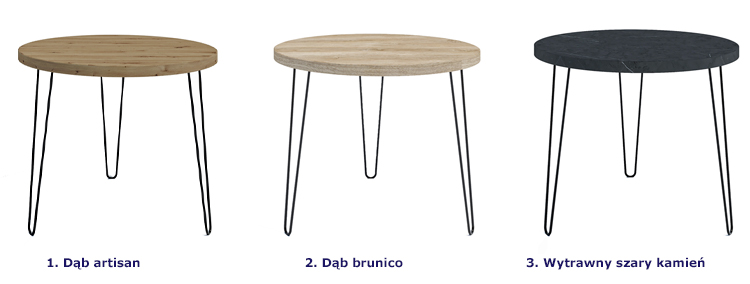 Dostępne opcje kolorystyczne loftowego stołu typu hairpin legs Asta