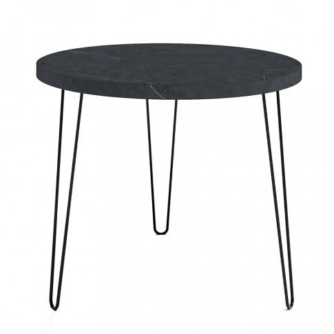 Industrialny stół z okrągłym blatem wytrawny szary kamień Asta