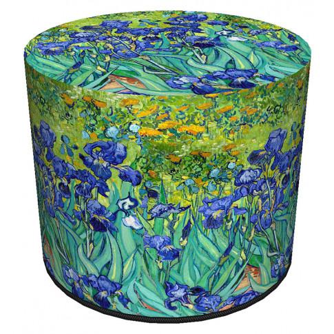 Zielono niebieska okrągła pufa w kwiaty Matilda